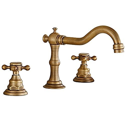 Votamuta Deck Mounted Three Holes Double Handles Widespread Bathroom Sink Faucet, Antique Brass Finished