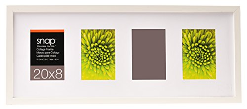 Snap 8x20 White Wood Frame with White Mat Opening For Four 3.5x5 (Frame Four)