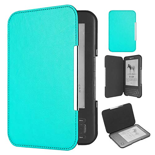 Huasiru PU Leather Case for Kindle 3 (Keyboard Version), Light Blue (Kindle Keyboard Case)