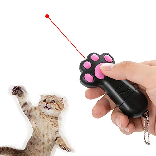 Love Explosion Paw Prints Shape Infrared Light Cat Toy Exercise Training Tool Laser Pointer , Free USB Charging Cable Included Interactive LED Light with 3 Settings (Laser Infrared Pointers)