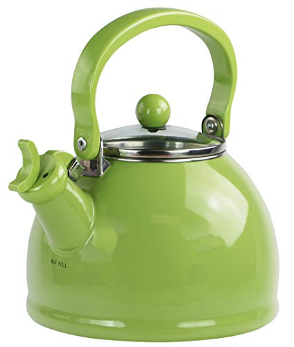 - Calypso Basics by Reston Lloyd Harmonic Hum Whistling Teakettle with Glass Lid, 2.2-Quart, Lime