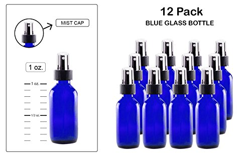 Mist spray/Glass Medicine Bottle, Amber Boston Cobalt Blue Round Bottles 1OZ. 12Pack - For Essential Oils, Scents, Travel, Perfume Kitchen, Bath, Cooking, Labs, Laundry, Cosmetic.- Re-Usable-By Katzco (1 Oz Blue Cobalt Glass)