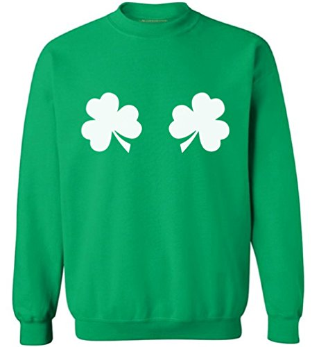 Awkward Styles Shamrocks Sweatshirt Shamrock Green Sweater for St. Patrick's Day Green S