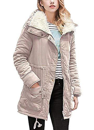 Khaki Cappotti Vintage Plus Inverno Caldo Manica Tasche Coulisse wBxq44