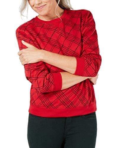 (Karen Scott Plaid Crew-Neck Sweatshirt (New Red Amore, S))