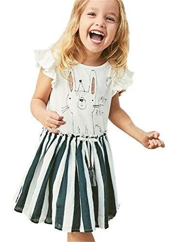 HILEELANG Girl Chambray Stripe Ruffle Fly Angel-Sleeve Dress Casual Cotton Princess Party A-Line Dress White]()