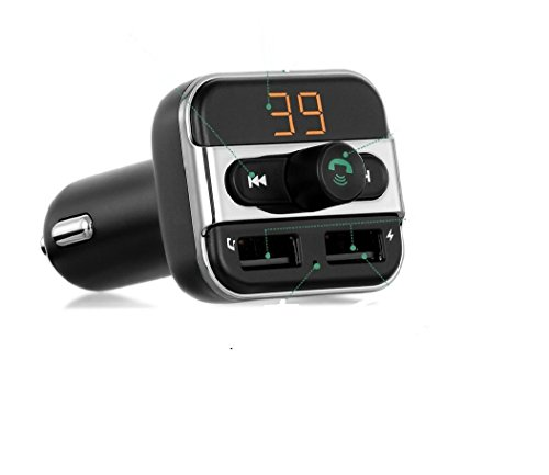 FM Transmitter Bluetooth Car Kit Music Player, SOONHUA Dual USB Car Charger Micro SD/TF Card USB Flash Drive Read Support Hands Free Call for iPhone Android Smartphone Tablet MP3 Player