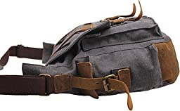 Iblue Vintage Canvas Cross Body Laptop Messenger Bag College Bookbags for Men Womens Leather#2138( dark grey ,XL)