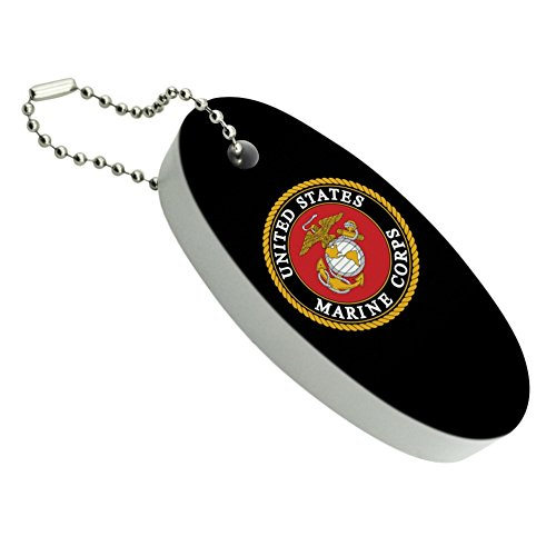 Graphics and More Marines USMC Emblem Black Yellow Red Officially Licensed Floating Foam Keychain Fishing Boat Buoy Key Float
