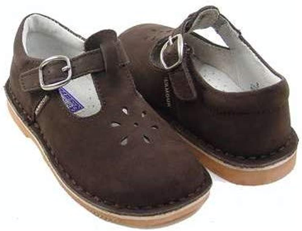 LAmour T-Strap Brown Nubuck Suede Shoes//