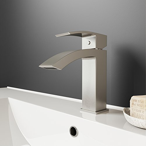 VIGO VG01015BN Satro Modern Brushed Nickel Bathroom Faucet, Single-Hole Deck-Mount Lavatory Faucet with Seven Layer Plated Finish