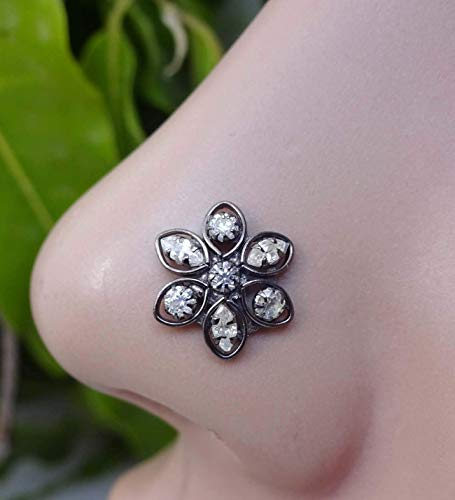 925 Sterling Silver Nose Stud,Indian Nose Stud,Cherry blossom Festival,14g Nose Stud,Indian Nose Ring,Marquise Nose Piercing,White Gold Nose Stud,Crystal Nose Stud,Flower Nose Stud(TEJ426)
