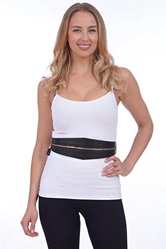 Sunny Belt Women's Wide Elastic Faux Leather Sash Waist Belt (Black, ()