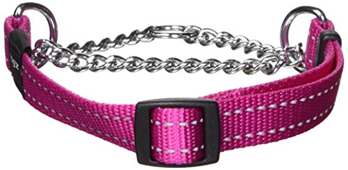 (ROGZ Reflective Nylon Choke Collar; Slip Show Obedience Training Gentle Choker for Medium Dogs, Pink)