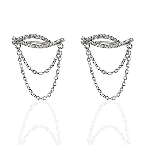 Rhodium Plated 925 Sterling Silver Two Band Chains CZ Cubic Zirconia No Pierce Ear Pin Earrings (2)