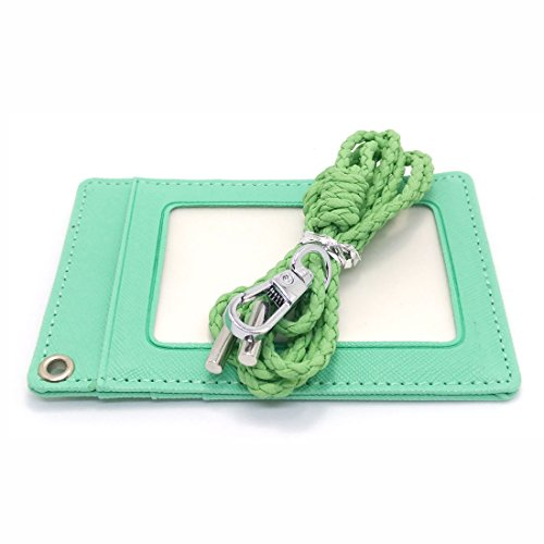 Business ID Badge Slim Credit Card Holder Wallet Neck Strap (Mint)