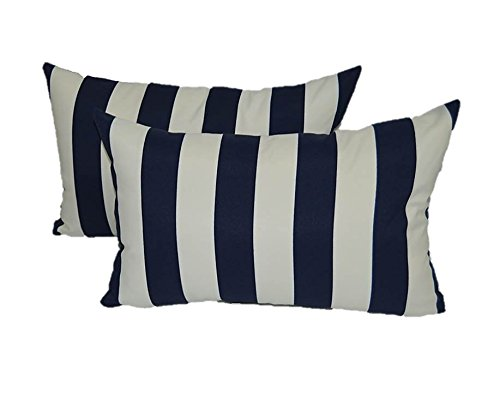 Set of 2 - Indoor / Outdoor Jumbo, Large, Over–sized, Rectangle / Lumbar Chaise Lounge Decorative Throw / Toss Pillows - Navy Blue and Ivory Stripe Fabric