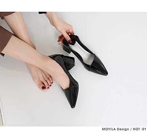 Pour Talons Pointues Zzdsh Fillettes Des Petites Hauts Talon Femmes À Avec 38 Chaussures Et Polyvalent Épais Noires 36 Iw0qwUx