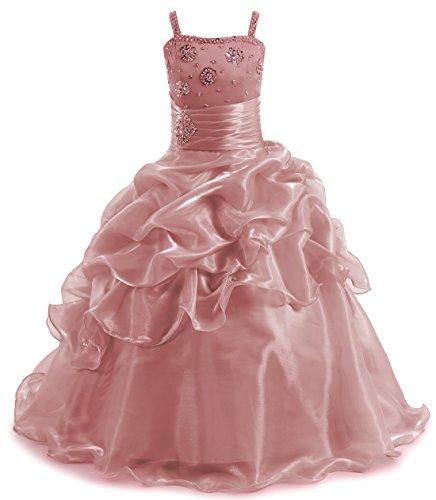 Girl's Beadings Pageant Ball Gown Shiny Wedding Flower Girls Dress Floor Length Blush,6