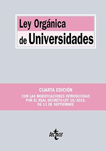 Descargar Libro Ley Orgánica De Universidades Editorial Tecnos
