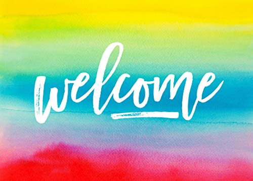 (Welcome Greeting Cards - W1802. Business Greeting Card Featuring a Rainbow Watercolor Background and a Welcome Message. Box Set Has 25 Greeting Cards and 26 Bright White Envelopes. )