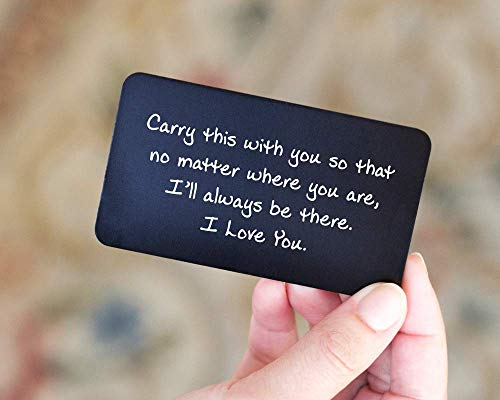 Engraved Wallet Cards - Perfect Anniversary Gifts for Men from Wife by Red Dot Laser Engraving - Anniversary Card for Him - Valentines Day, Couple, Deployment Keepsake ()