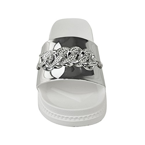 Womens Silver Metallic Fashion Flat Platform Thirsty Sandals Summer Chain Flatforms Size Sliders Diamante xxn51w7