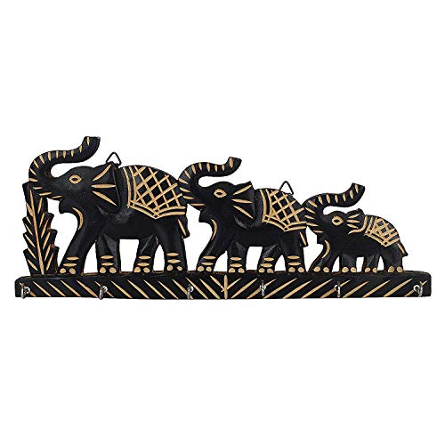 Elephant Key - IndiaBigShop Handmade Wooden Key Holder With 3 Elephant Wall Mounted and 6 Key hooks for Organising Purpose 13.5 Inch