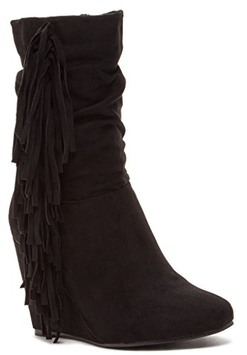 Bucco Noalanda Womens Fashion Fringed Wedge Boots, Black, Size 10, US (Sexy Womens Boots)