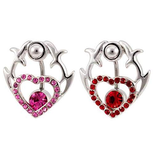 Monster Steel Two Part Tribal Heart Shield 2 in 1 Belly Button Ring ()