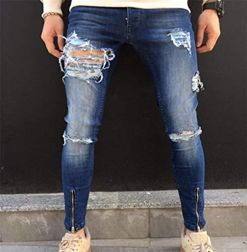 Jeans Chiusura Hop Uomo Streetwear Distressed Pantaloni Slim Classiche Ragazzi Moto Hip Blau Vintage Con Fit Denim Strappati wRU6qrw
