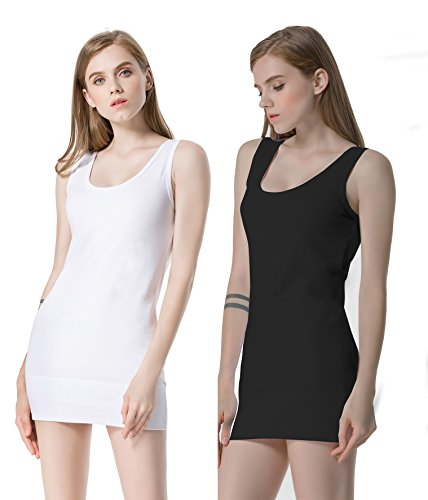 Moxeay Womens Extra Long Stretch Cotton Tank Top (Medium, 1 White & 1 Black) (Long Tunic Tank Top Shirt)
