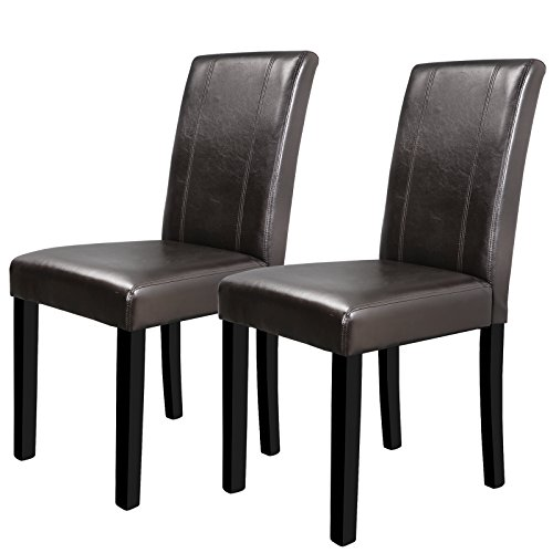 HOMGARDEN Set of 2 Urban Style Leatherette Padded Parson Chair Dining Chairs with Solid Wood Legs by HOMGARDEN