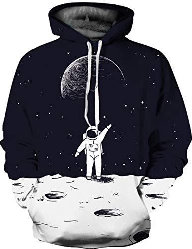 - Bettydom Men's Novelty Hoodies 3D Animal Patterns Hoodie Sweatshirts(Small/Medium,Astronaut 746-2)