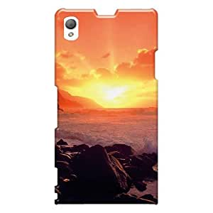 Shock Absorption Cell-phone Hard Covers For Sony Xperia Z1 (xYY517oNiC) Provide Private Custom High Resolution Sunset Ocean Skin