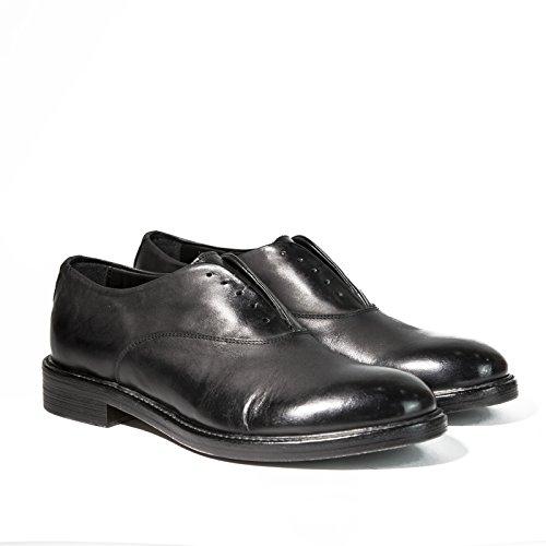 Derby senza lacci in pelle Tevere di colore nero Scarpe artigianali uomo vintage italiane calzature fatte a mano Made in Italy 100% vera pelle