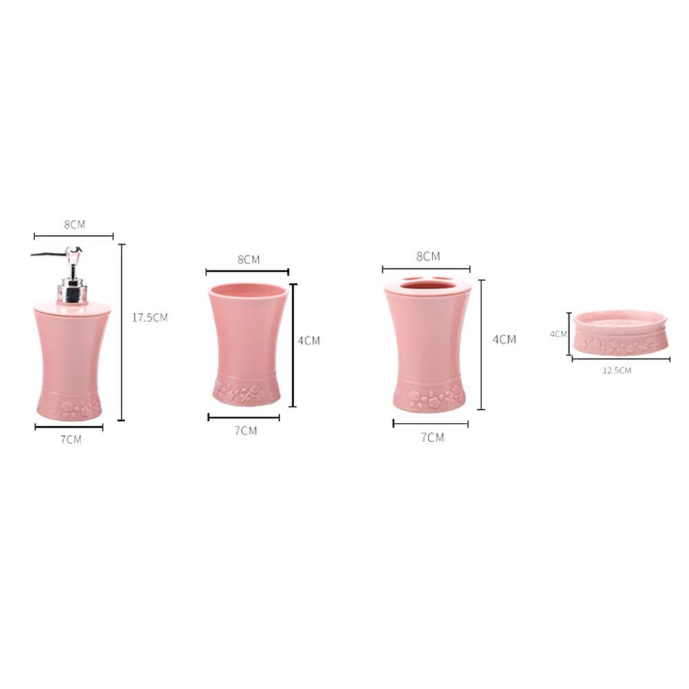 TOPBATHY Kit daccessoires de Bain en Plastique Tasses Porte-Brosse /à Dents Porte-Savon Distributeur Costume de Salle de Bain Rose
