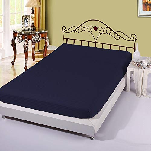 1 Fitted Sheet Only, 100% Egyptian Cotton 400 Thread Count, 16 Inch deep Pocket of Fitted Sheet, Long - Staple Combed Cotton, Soft & Silky Sateen Weave - Navy Blue Stripe, Twin-XL Size. ()