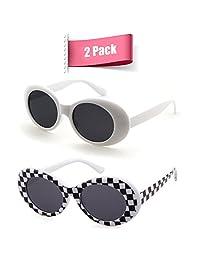 Bold Retro Oval Mod Thick Frame Sunglasses Clout Goggles (White&Checked, 51)
