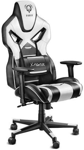 Diablo X-Fighter Gaming Silla De Oficina Reposabrazos Ajustables 3D Mecanismo De Inclinación Cojin Lumbar Cuero Sintético Perforado (Negro-Blanco)