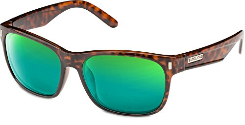 Suncloud Dashboard Polarized Bi-Focal Reading Sunglasses in Tortoise with Green Mirror Lens +1.50