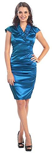 Businesskleid kurz Brautjungfernkleid Magenta Abiballkleid Kleid Satin Abendkleid Abschlussball Cocktailkleid Etuikleid Cqw5vRt