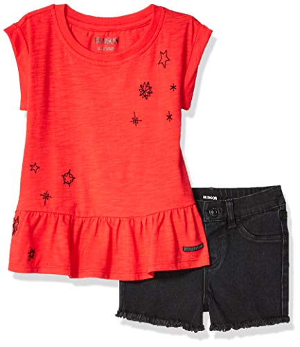 HUDSON Baby Girls 2PC Short Set, Black Vintage, 3T