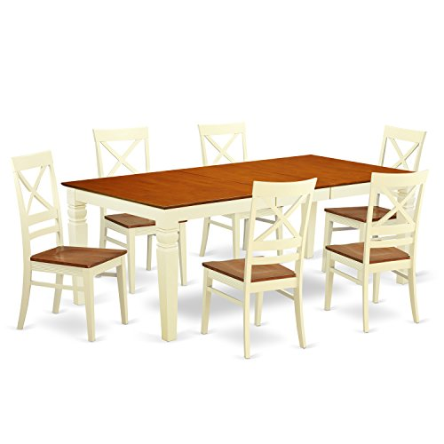 East West Furniture LGQU7-BMK-W 7 Piece Dining Table Set with One Logan Dining room Table and 6 Dining Chairs in Buttermilk & Cherry Finish
