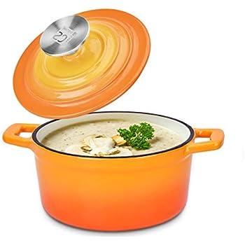 Small Dutch Oven - Enamel Cast Iron Enamel Coating Cookware Casserole with Lid 0.85 Quart Sunset Orange Cocotte Versatile Saucepan with Lid Stew Pot