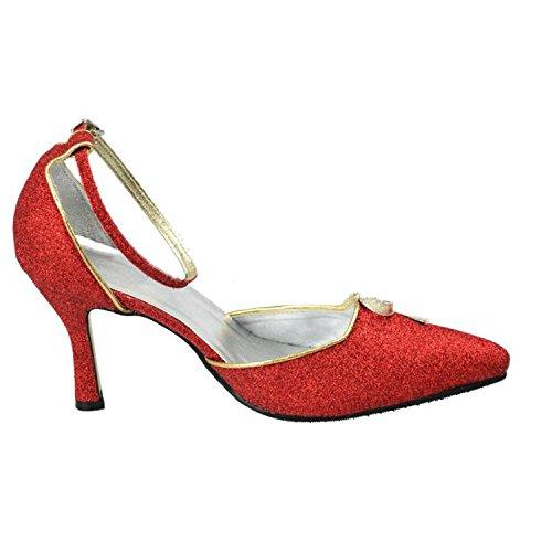 Kevin Fashion Mz1195 Womens Knot Glitter Da Cerimonia Nuziale Formale Festa Da Ballo Di Sera Scarpe Da Ballo Rosso