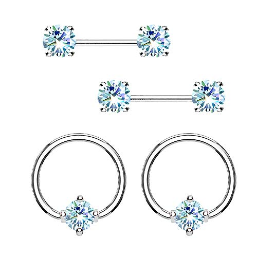 - MoBody 2 Pairs Prong Set Nipple Ring and Barbell Set Surgical Steel Nose Septum Captive Bead Piercing Hoop Value Pack 14G (1.6mm) (Aqua CZ)