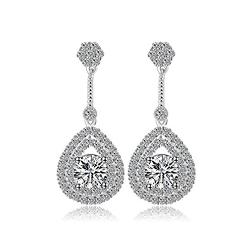 [YuanS Shaped Plating White Gold Cubic Zirconia Birthstone Teardrop Bridal Dangle Earrings] (Simple Halloween Costumes For High School)