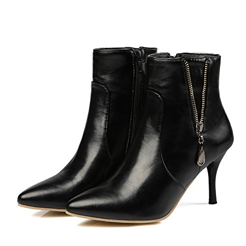 Women's Toe Black Heels High Zipper Boots Material Closed Soft Pointed Solid Allhqfashion g1HOqdnwaH
