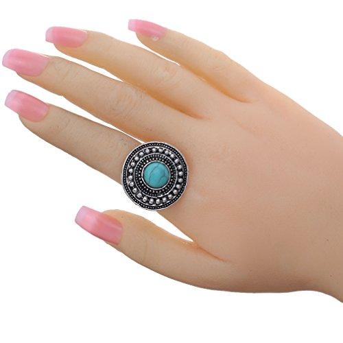 Yazilind sculpt¨¦ rimous Round Turquoise Argent tib¨¦tain Trouver anneau ajustable pour les femmes